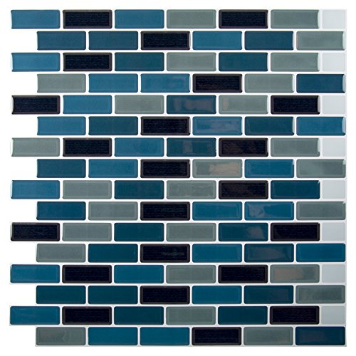 - CTG Truu Design, Mini Subway Peel and Stick Wall Tiles, 10 x 10 inches, Teal/Grey/Black, 6 Pieces
