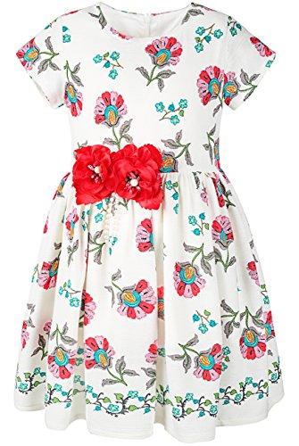 Easter Church Dress - Lilax Little Girl Easter Flower Print Short Sleeve Toddler Dress 4T Red