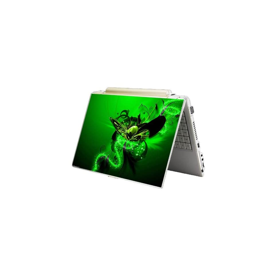 Bundle Monster MINI NETBOOK Laptop Notebook Skin Sticker Cover Art Decal   7 8 9 10   Fit HP Dell Asus Acer Eee Compaq MSI   Green Butterfly