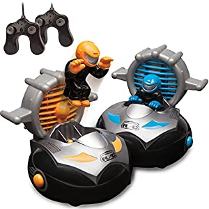 Kid Galaxy Remote Control Bump 'n Chuck Bumper Cars. RC Toy Game. 2 Radio Control Vehicles