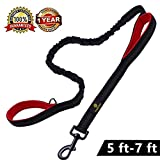 #9: Retractable Dual Handle Dog Leash - Shock Absorbing Reflective Strong Bungee Lead Soft Padded 2 Handles for Traffic Safety Control Training by Snagle Paw, 5 to 7 Feet, Perfect for Medium to Large Dogs