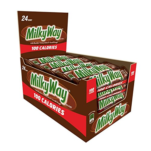MILKY WAY 100 Calories Milk Chocolate Candy Bar 0.77-Ounce Bar 24-Count Box Rich Chewy Caramel Snack Bar