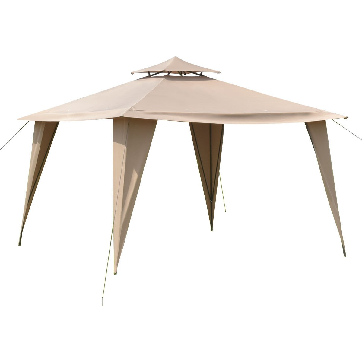2-Tier 11'x11' Gazebo Canopy Shelter Awning Tent Steel Frame Patio Garden Brown + FREE E-Book
