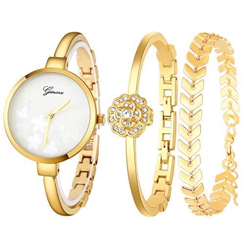 JUMJEE Dress Bracelet Watches for Women Casual Quartz Bangle Wrist Watch Set (Gold)