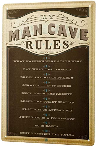 12x16,Nostalgic Man Cave Rules Funny Livingrooms Bar Club Garden Coffee Shop Wall Art Decoration for Living Room Bedroom Kitchen Home Office Decoration