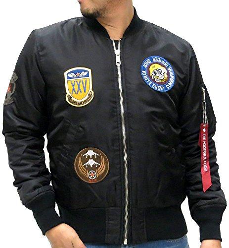 (Baycrest Men's MA-1 Bomber Flight Military Jacket with Patches (Medium, Black))