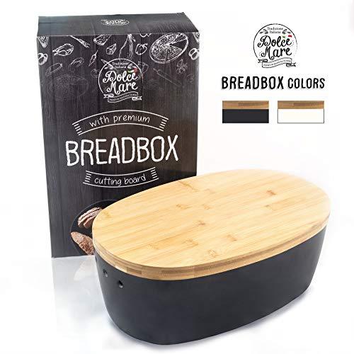 DOLCE MARE Bambus Brotbox – Hübscher Brotkasten – extrem praktischer Brottopf – Ausgefallener Brotkorb aus Holz – Brotbehälter – Bread Bin – tolle Geschenkidee