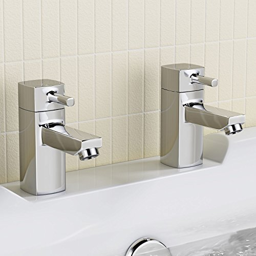 Square Twin Bath Tub Hot and Cold Taps Luxury Pair Chrome Bathroom Faucet TB62 by iBathUK