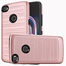 Alcatel Idol 5 / 6058 Case, Luckiefind Slim Brush Texture Hybrid Defender Armor Protective Case Cover with Stylus Pen & Screen Protector Accessory (Brush Rose Gold)