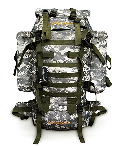 Lucky Gourd 80l Sport Outdoor Military Rucksacks Tactical Backpack Camping Hiking Trekking Bag with Rain Cover (Grey)
