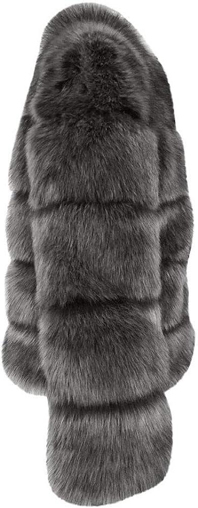 Femmes Manteaux De Vison d'hiver À Capuche Nouvelle Veste en Fausse Fourrure Chaud Épais Survêtement Veste Manteau Kimono Cardigan Jumper Parka B-gris