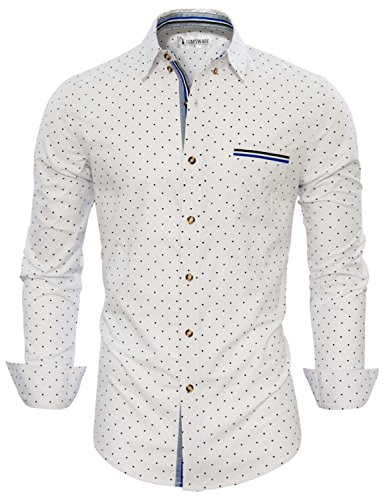 Tom's Ware Mens Stylish Abstract Print Button Down Shirt TWNMS355S-WHITE-US L Abstract Button