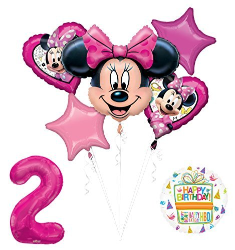 Mayflower Products New Minnie Mouse 2nd Birthday Party Supplies Balloon Bouquet Decorations -