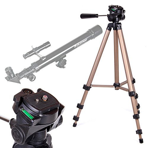 DURAGADGET Telescope Tripod with Extendable Legs and Ball-Tilt Head in Black & Gold Compatible With Celestron 21008/21007 Powerseeker 40AZ Telescope by DURAGADGET
