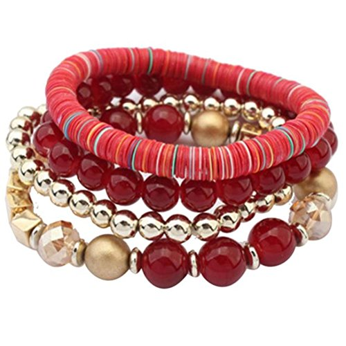 Willsa Women 4 pcs Colorful Beads Multilayer Handmade Bracelets Florid Bangle (Red)