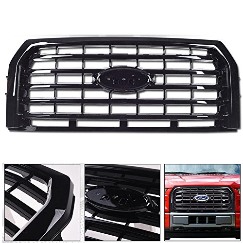 Vxmotor 2015 2017 Ford F150 Glossy Black Blk Oe Sport Horizontal Billet Front Hood Bumper Grill Grille Kit Cover Guard Replacement Conversion Abs