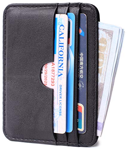 Slim Leather Card Case Wallet Minimalist Credit Card Holder Money Clip for Men and Women