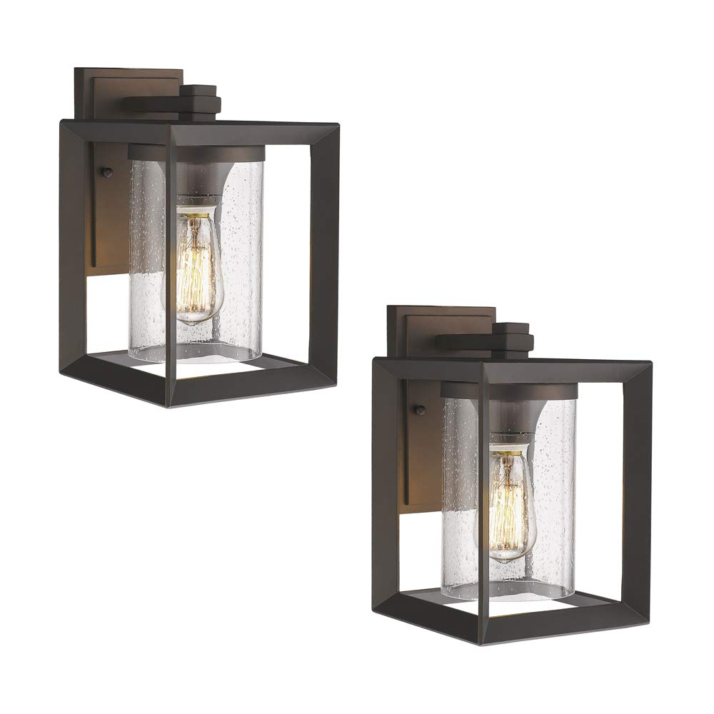 Emliviar Indoor Outdoor Wall Sconce 2 Pack, Oil Rubbed Bronze Finish with Seeded Glass Shade, 2083-B1