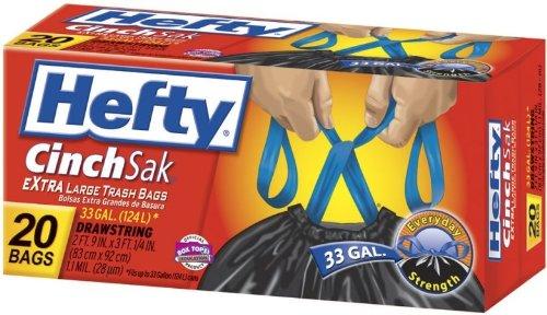Glad Hefty E86725 20 Count 33 Gallon Cinch Sak Large Tras...