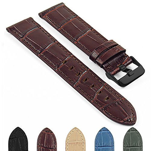 Crocodile Embossed Strap - DASSARI Quick Release Crocodile Embossed Leather Watch Strap Band w Matte Black Buckle 20mm 22mm