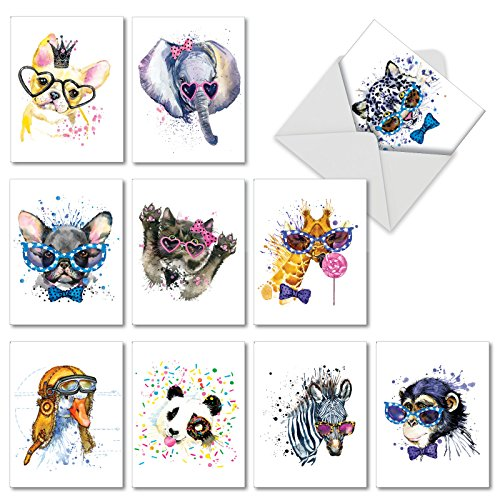 Funky Colorful Creatures: 10 Assorted Blank All Occasions Notecards Showing Beautiful Painted Puppies with Glasses and Crowns, with Envelopes. (Crown Stationery)