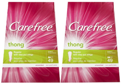 Carefree Thong Pantiliners, Unscented - 49 ct - 2 pk (Carefree Panty Liners Thong)