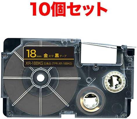 カシオ用 ネームランド 互換 テープカートリッジ 18mm 10個セット (黒テープ/金文字)