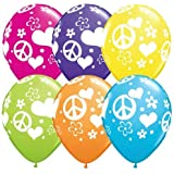 "11"" Peace Sign Hearts Love Latex Balloons (10 count)"