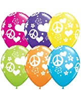 """11"""" Peace Sign Hearts Love Latex Balloons (10 count)"""