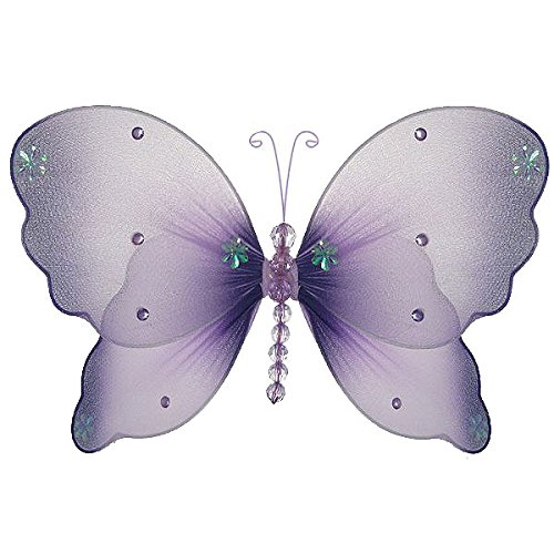 The Butterfly Grove Emily Butterfly Decoration 3D Hanging Mesh Organza Nylon Decor, Purple Wisteria, Medium, 11