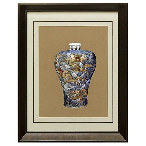 China Furniture Online Silk Embroidery Frame, Blue Prosperity Dragon Motif Vase on Beige Background by ChinaFurnitureOnline