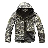RockJay Military Tactical Jacket Men Waterproof Windproof Warm Coat Camouflage Hooded Camo Army Clothing ACU M