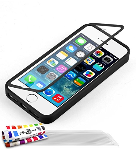 Flip-Case APPLE IPHONE 5S / IPHONE SE [Le Jelly Glass Premium] [Schwarz] von MUZZANO + 3 Display-Schutzfolien UltraClear + STIFT und MICROFASERTUCH MUZZANO® GRATIS - Das ULTIMATIVE, ELEGANTE UND LANGL