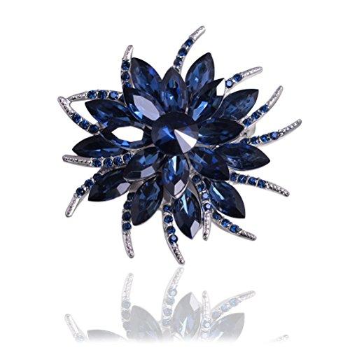 Scarf Brooch Pin Lapel - Tagoo Blooming Flowers Angel Tear Brooch Pin Corsage Scarf Clip in Crystal Unisex for Women&Men Banquet Wedding Casual Dailywear (Flower Blue 2.36