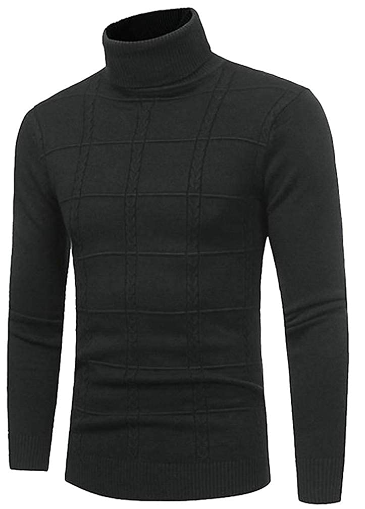 Blyent Men Slim Striped High Neck Knitted Pullover Jumper Sweaters