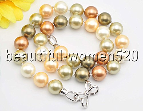 Pearl Sea Green Round South (Z8425 12mm Green Yellow Coffee Round South Sea Shell Pearl Necklace 18inch)