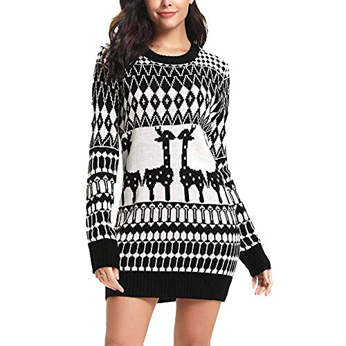 Clearance Forthery Christmas Sweater Women Ugly Snowflake Merry Xmas Mini Dress