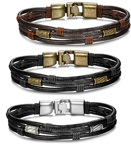 ORAZIO 3PCS Leather Bracelet for Men Vintage Braided Wrist Cuff Bangle, 8.5 Inches for $<!--$9.99-->