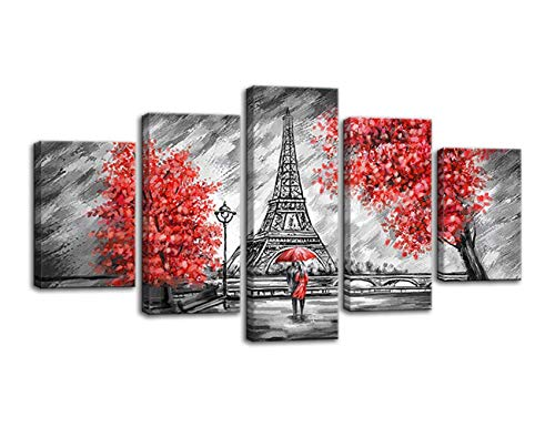 The Couple Walking in The Rain Eiffel Tower Red Tree Canvas Black and White Painting Wall Art Poster Modern Home Decor 5 Panels Printed Decor for Living Room Bedroom Painting Framed Ready to Hang (Red Rain Art Print)
