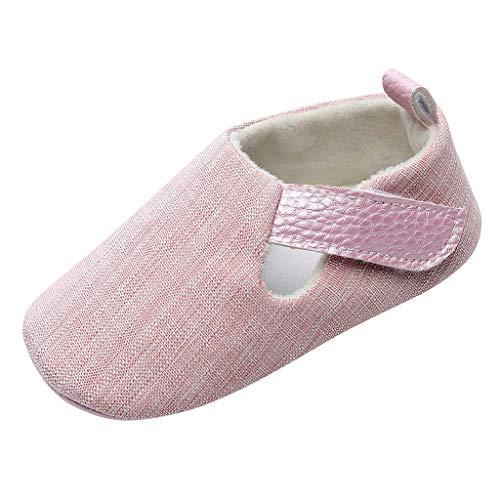 〓COOlCCI〓Baby Girls' Shoes,Soft Princess Mary Jane Shoes Prewalker Wedding Dress Shoes Christening Baptism Crib Shoes Pink