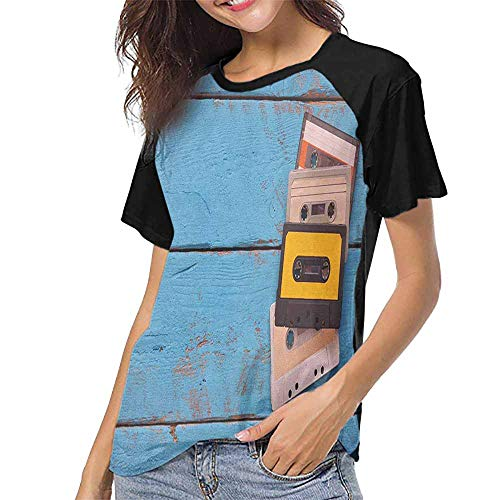 Indie,Tee Tshirts Women S-XXL(This is for Size Small) Vintage Cassette Tapes on Aqua Wooden Table Close Up Photo Retro Music Old Schoo,Women's Tops Blouses