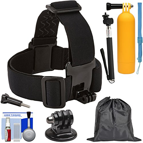 Sunpak Action Camera Head Strap Mount with Buoy Hand Grip + Wrist Strap + Selfie Stick + Adapter + Pouch + Kit by Unknown