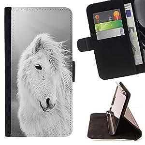 For HTC One M8 Case , White Horse Animal Verano Negro- la tarjeta de Crédito Slots PU Funda de cuero Monedero caso cubierta de piel
