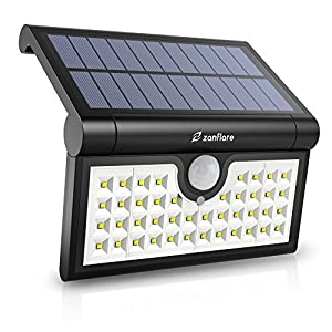 42 LED Motion Sensor Solar Light Outdoor, Zanflare Super Bright Solar Powered Wall Path Light, Wireless Home Security Outdoor Light With Motion Activated Auto ON/OFF