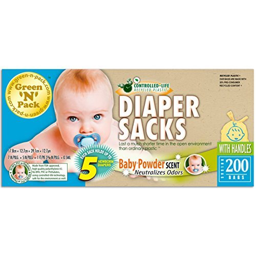 Green N Pack Easy-Tie Scented Baby Diaper Sacks, 200-Count NAPPY200