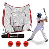 Rukket 6pc Baseball/Softball Bundle | 7x7 Hitting Net | 3 Weighted Training Balls | Strike Zone Target | Carry Bag | Practice Batting, Pitching, Catching | Backstop Screen Equipment Training Aids