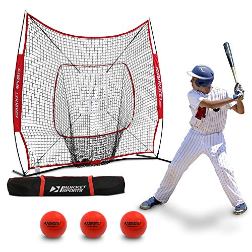 Backstop Portable Cage (Rukket 6pc Baseball/Softball Bundle | 7x7 Hitting Net | 3 Weighted Training Balls | Strike Zone Target | Carry Bag | Practice Batting, Pitching, Catching | Backstop Screen Equipment Training Aids)
