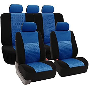 FH GROUP FH-FB060115 Trendy Elegance Car Seat Covers, Airbag compatible and Split Bench, Blue / Black color