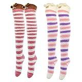 Fitu Womens Cartoon Soft Warm Over Knee High Stockings Fuzzy Socks Cute Animal Fleece Socks (Mix 2)