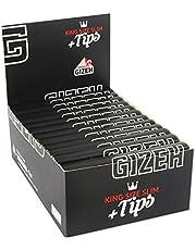 Gizeh 15558 schwarzes langes Papier plus Tips King Size Slim, 26 Heftchen mit 34 Blättchen, 14 g/m2